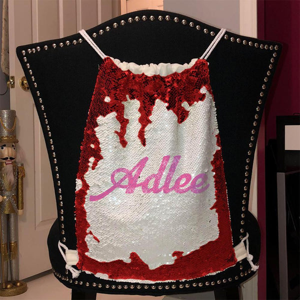 Personalized Magic Sequin Name Backpacks Sequin Backpack BLINGZ Red Pink
