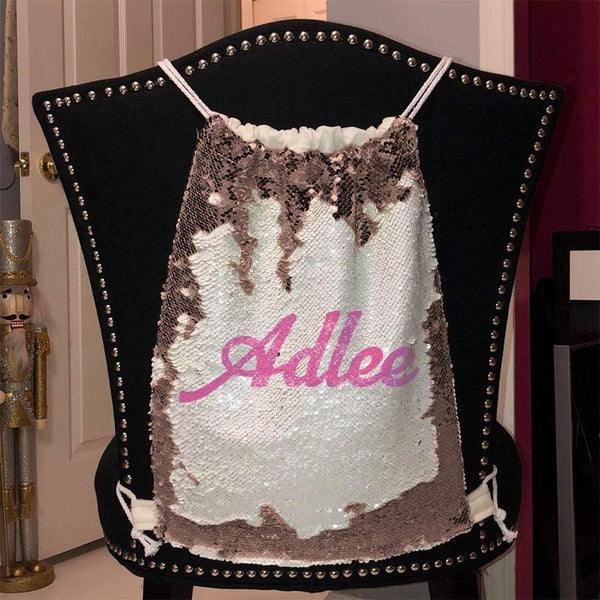 Personalized Magic Sequin Name Backpacks Sequin Backpack BLINGZ Rose Gold Pink