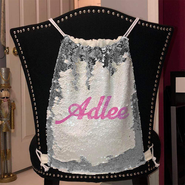 Personalized Magic Sequin Name Backpacks Sequin Backpack BLINGZ Silver Pink