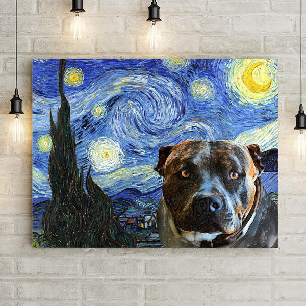 Doggy Starry Night Premium Canvas