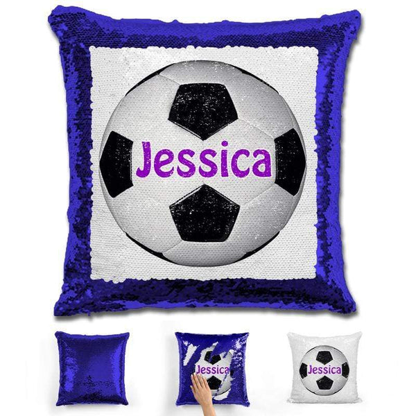 Soccer Personalized Magic Sequin Pillow Pillow GLAM Blue Purple