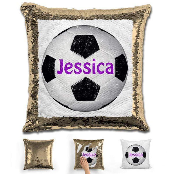 Soccer Personalized Magic Sequin Pillow Pillow GLAM Gold Purple