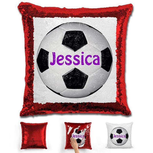 Soccer Personalized Magic Sequin Pillow Pillow GLAM Red Purple