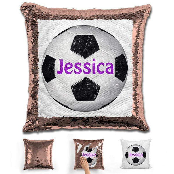 Soccer Personalized Magic Sequin Pillow Pillow GLAM Rose Gold Purple