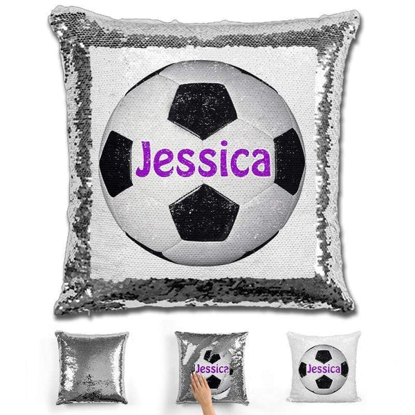 Soccer Personalized Magic Sequin Pillow Pillow GLAM Silver Purple