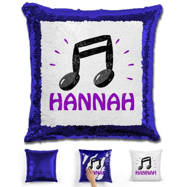 Music Note Personalized Magic Sequin Pillow Pillow GLAM Blue Purple
