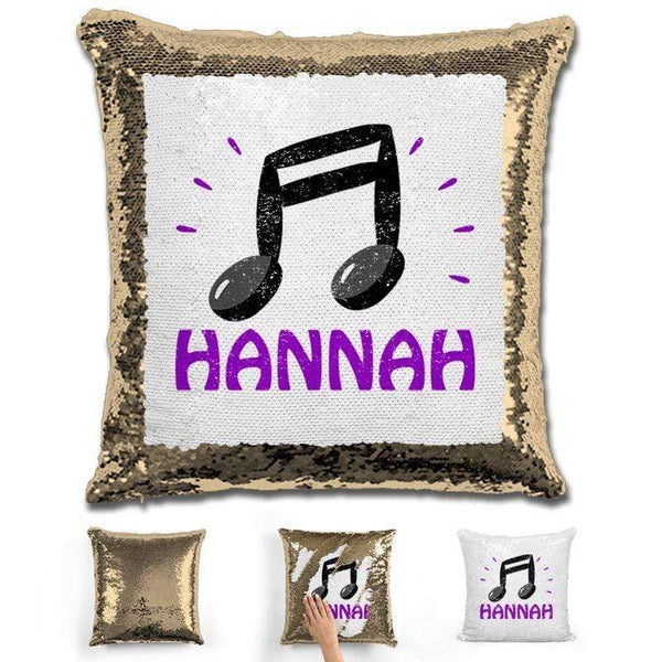 Music Note Personalized Magic Sequin Pillow Pillow GLAM Gold Purple