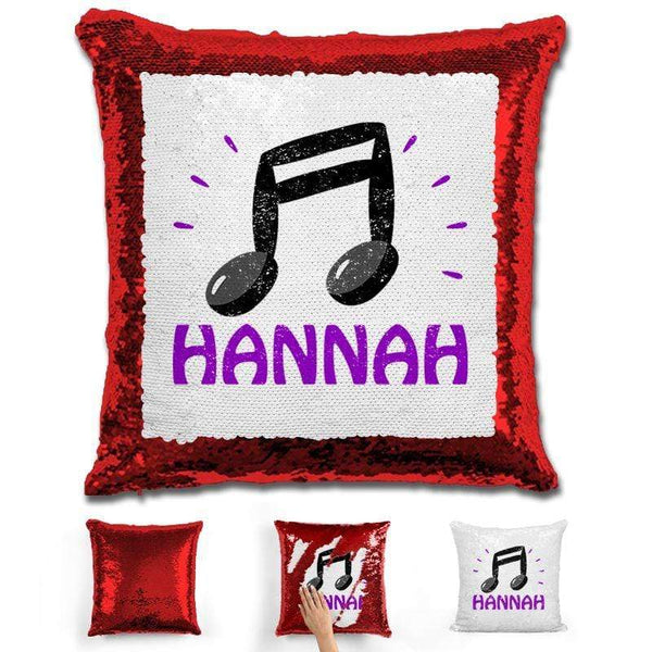 Music Note Personalized Magic Sequin Pillow Pillow GLAM Red Purple