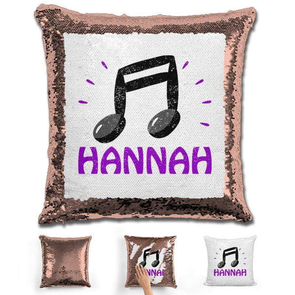 Music Note Personalized Magic Sequin Pillow Pillow GLAM Rose Gold Purple