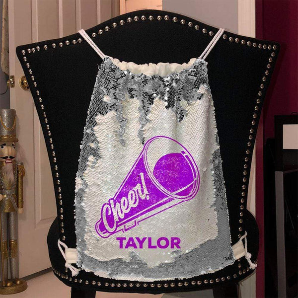 Personalized Cheer Magic Sequin Backpacks Sequin Backpack BLINGZ Silver Purple