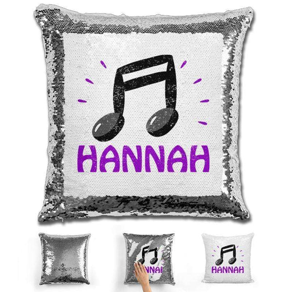 Music Note Personalized Magic Sequin Pillow Pillow GLAM Silver Purple