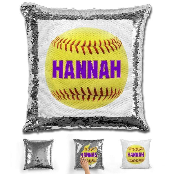 Softball Personalized Magic Sequin Pillow Pillow GLAM Silver Purple