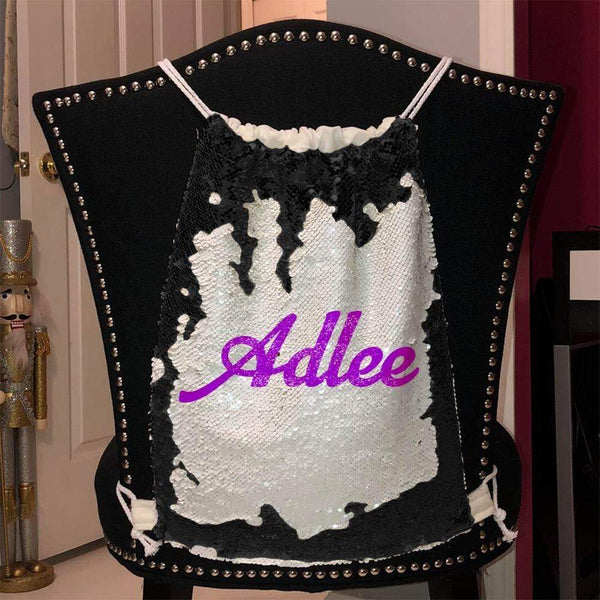 Personalized Magic Sequin Name Backpacks Sequin Backpack BLINGZ Black Purple