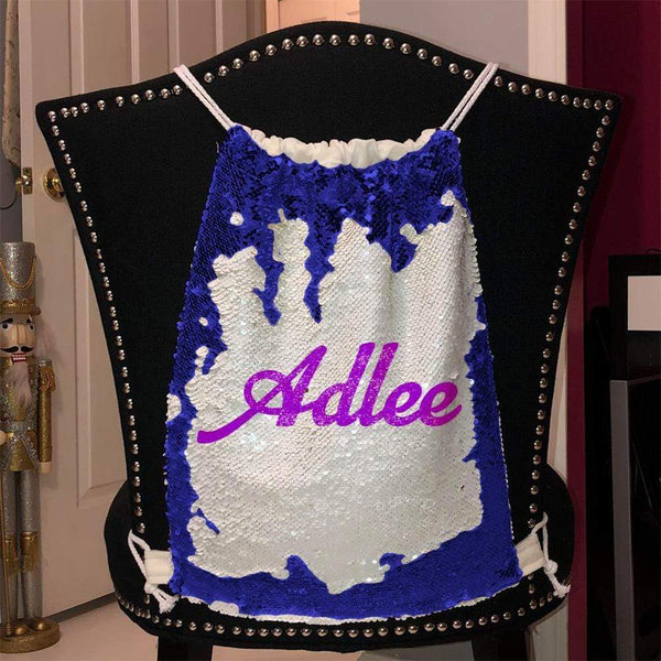 Personalized Magic Sequin Name Backpacks Sequin Backpack BLINGZ Blue Purple
