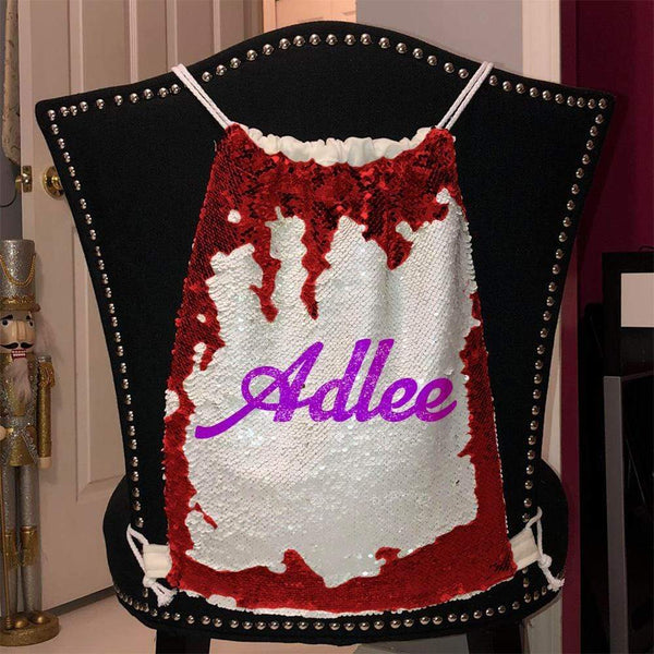 Personalized Magic Sequin Name Backpacks Sequin Backpack BLINGZ Red Purple