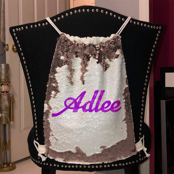 Personalized Magic Sequin Name Backpacks Sequin Backpack BLINGZ Rose Gold Purple