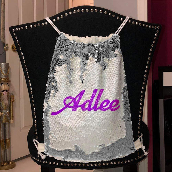 Personalized Magic Sequin Name Backpacks Sequin Backpack BLINGZ Silver Purple
