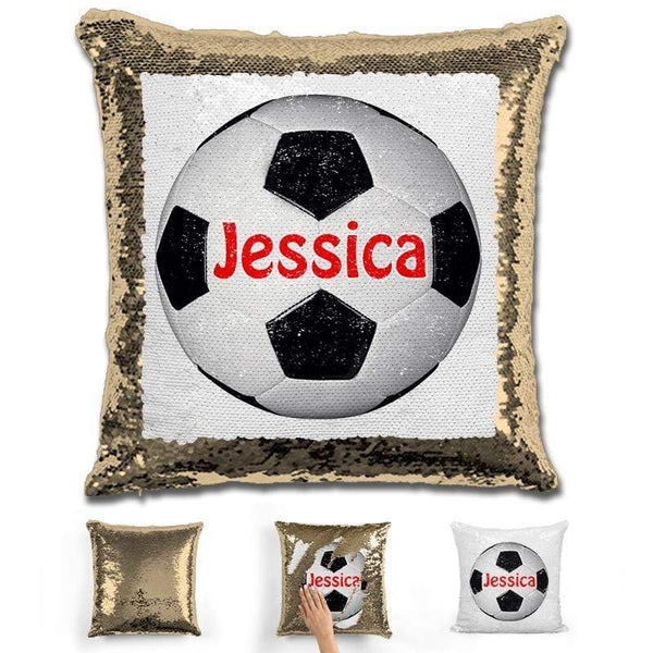 Soccer Personalized Magic Sequin Pillow Pillow GLAM Gold Red