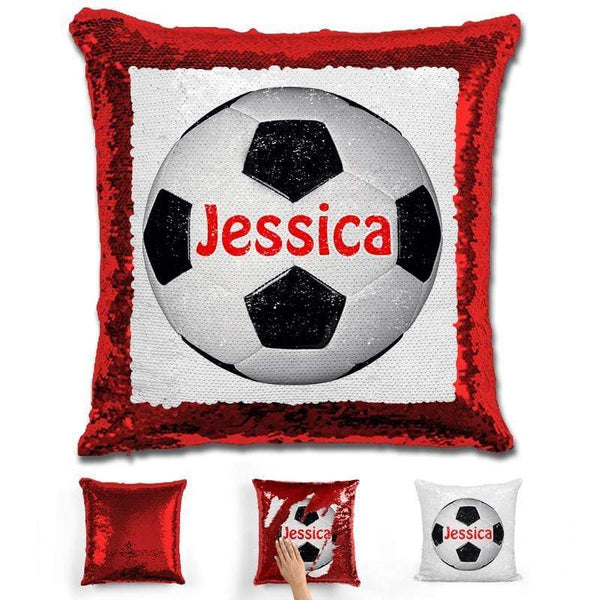 Soccer Personalized Magic Sequin Pillow Pillow GLAM Red Red