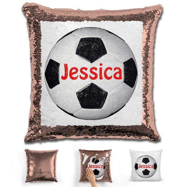 Soccer Personalized Magic Sequin Pillow Pillow GLAM Rose Gold Red