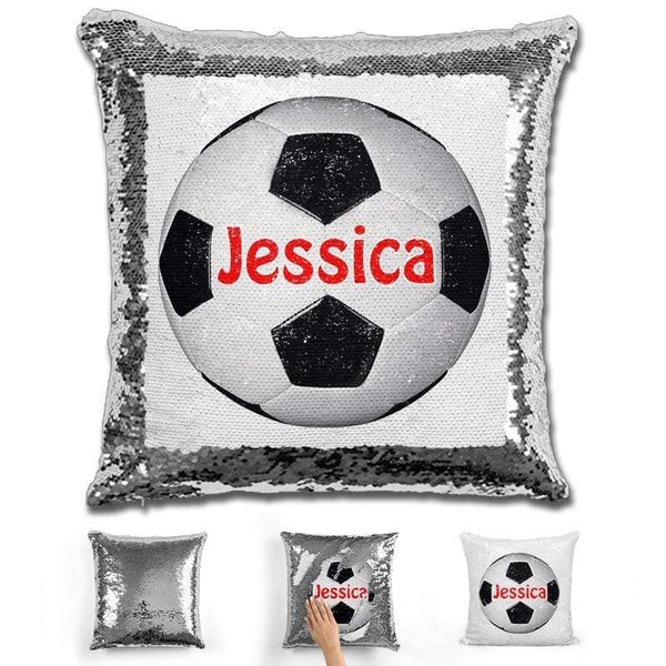 Soccer Personalized Magic Sequin Pillow Pillow GLAM Silver Red