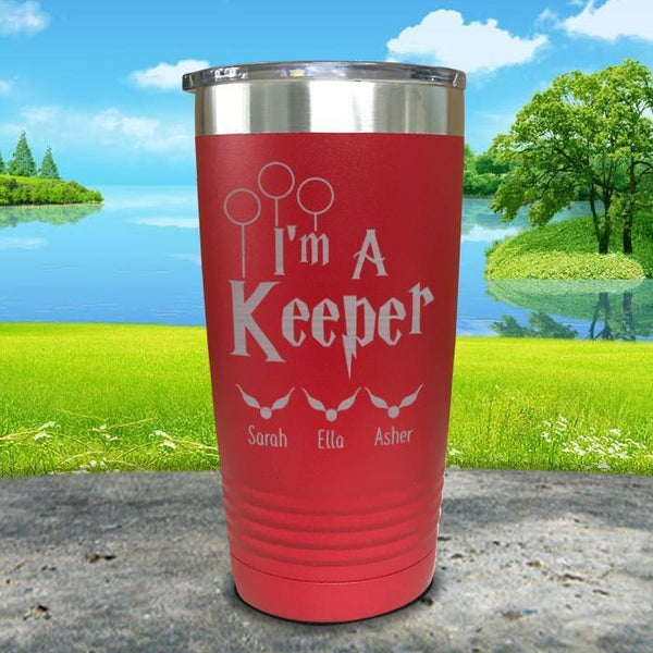 I'm A Keeper (CUSTOM) With Child's Name Engraved Tumblers Tumbler ZLAZER 20oz Tumbler Red