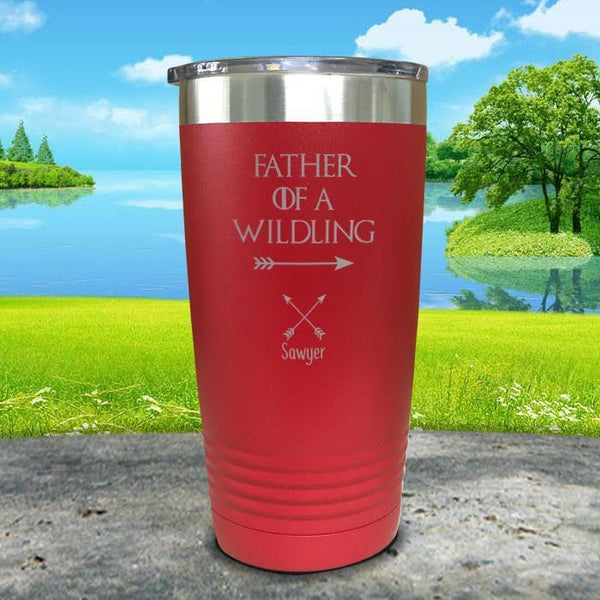 Father Of Wildlings (CUSTOM) With Child's Name Engraved Tumblers Tumbler ZLAZER 20oz Tumbler Red