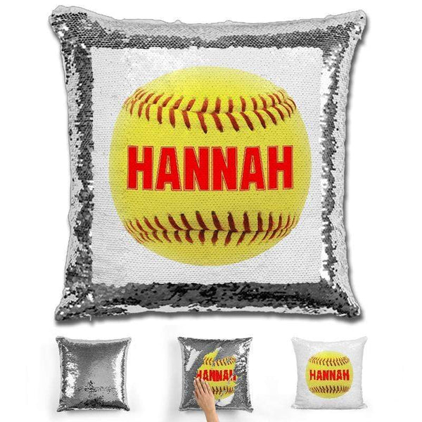 Softball Personalized Magic Sequin Pillow Pillow GLAM Silver Red