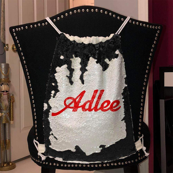 Personalized Magic Sequin Name Backpacks Sequin Backpack BLINGZ Black Red