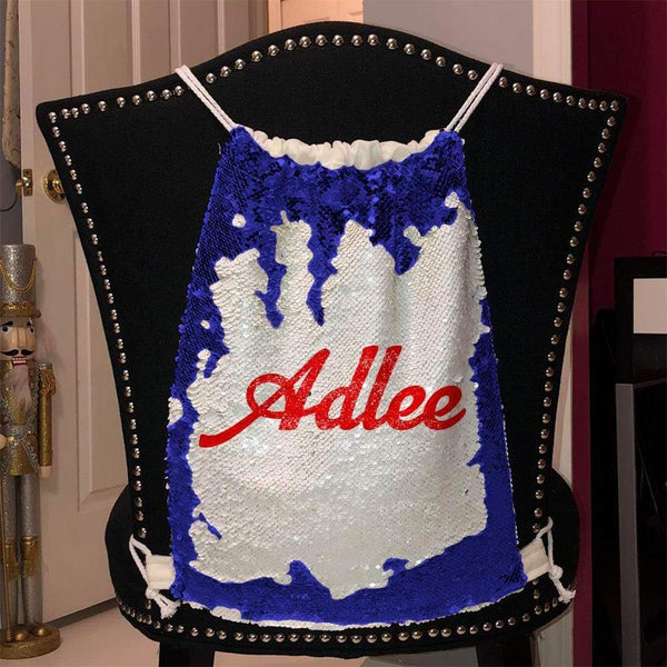 Personalized Magic Sequin Name Backpacks Sequin Backpack BLINGZ Blue Red