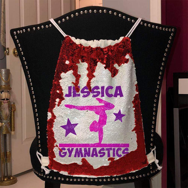 Personalized Gymnastics Magic Sequin Backpacks Sequin Backpack BLINGZ Red