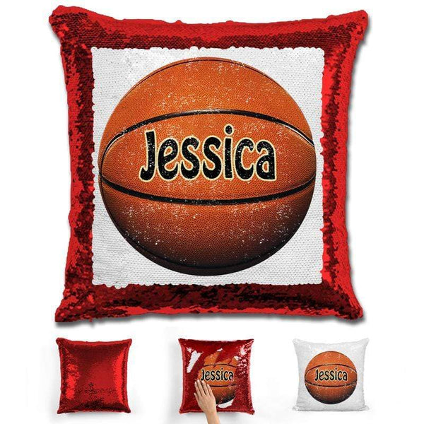 Basketball Personalized Magic Sequin Pillow Pillow GLAM Red