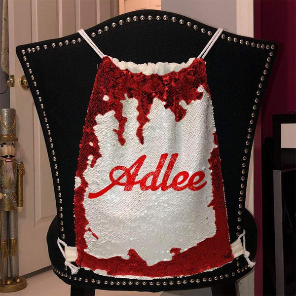 Personalized Magic Sequin Name Backpacks Sequin Backpack BLINGZ Red Red