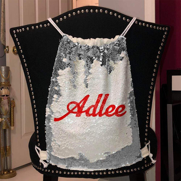 Personalized Magic Sequin Name Backpacks Sequin Backpack BLINGZ Silver Red