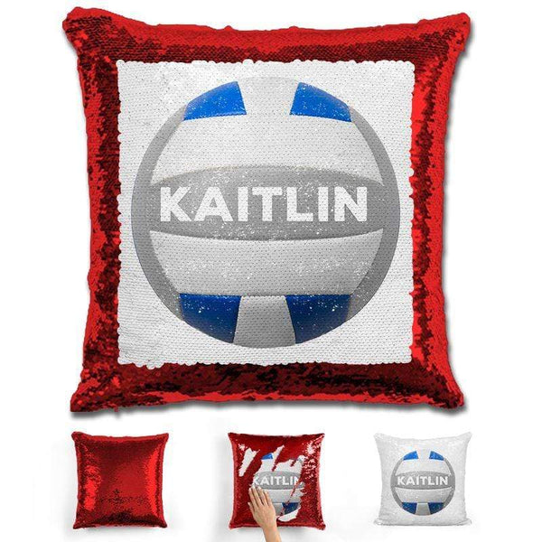 Volleyball Personalized Magic Sequin Pillow Pillow GLAM Red