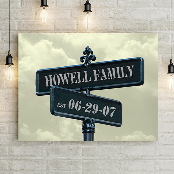Street Signs Clouds Personalized Premium Canvas