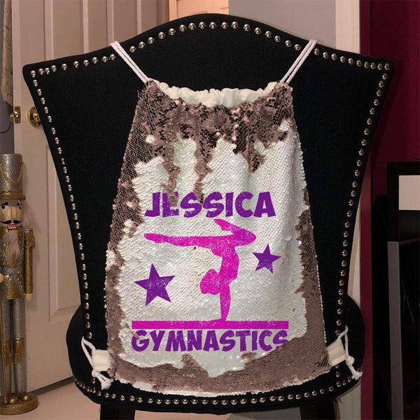 Personalized Gymnastics Magic Sequin Backpacks Sequin Backpack BLINGZ Rose Gold