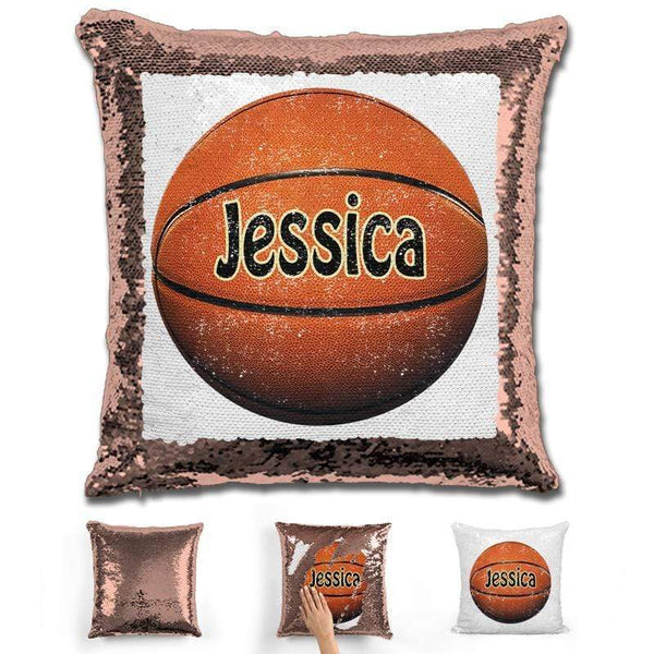 Basketball Personalized Magic Sequin Pillow Pillow GLAM Rose Gold
