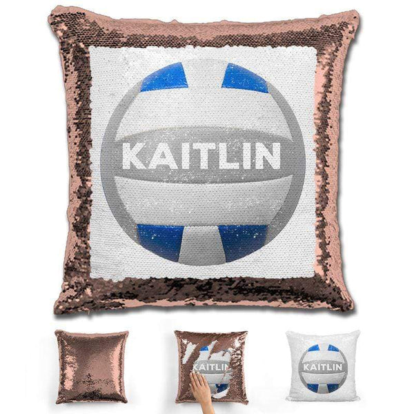 Volleyball Personalized Magic Sequin Pillow Pillow GLAM Rose Gold