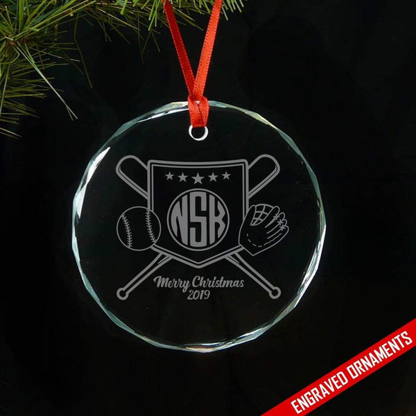 Softball Baseball CUSTOM Monogram Engraved Glass Ornament ZLAZER