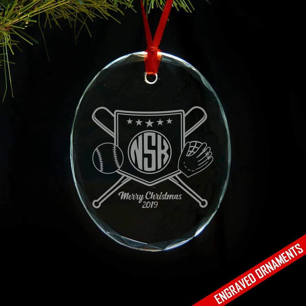 Softball Baseball CUSTOM Monogram Engraved Glass Ornament ZLAZER Oval Ornament