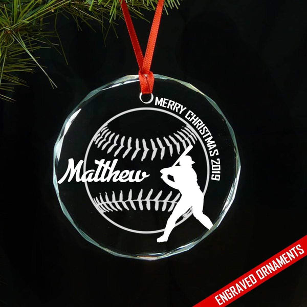 Softball And Baseball (CUSTOM) Premium Engraved Ornament ZLAZER Baseball