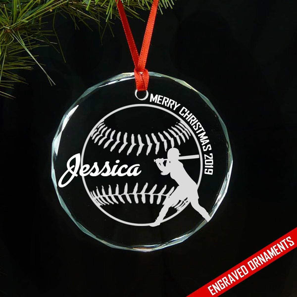 Softball And Baseball (CUSTOM) Premium Engraved Ornament ZLAZER Softball