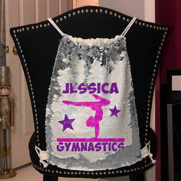Personalized Gymnastics Magic Sequin Backpacks Sequin Backpack BLINGZ Silver