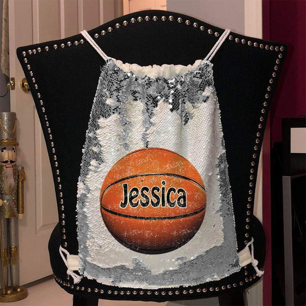 Personalized Basketball Magic Sequin Backpacks Sequin Backpack BLINGZ Silver