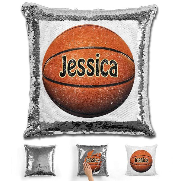 Basketball Personalized Magic Sequin Pillow Pillow GLAM Silver