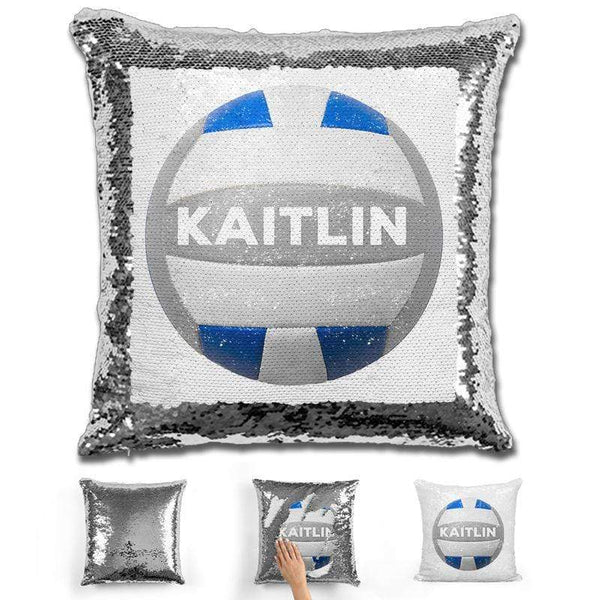 Volleyball Personalized Magic Sequin Pillow Pillow GLAM Silver