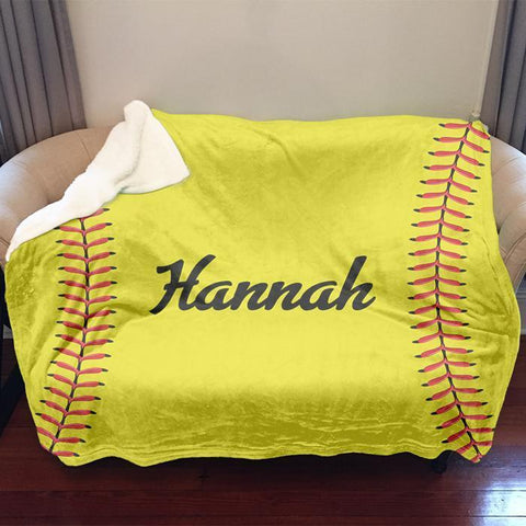 Softball Personalized Sherpa Blanket Blankets Lemons Are Blue