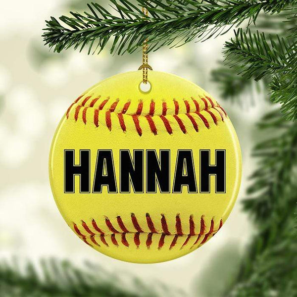 Softball Personalized Ceramic Ornaments