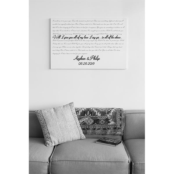 "Wedding Song Lyrics 24x16"" Canvas-LemonsAreBlue"